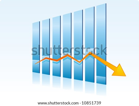 Failure - falling bear trend chart - stock vector