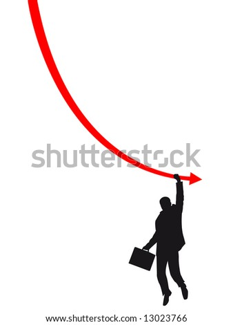 failure man on the graph - stock vector
