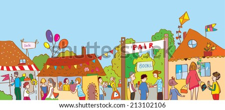 Fair holiday at the town illustration with many people and houses - stock vector