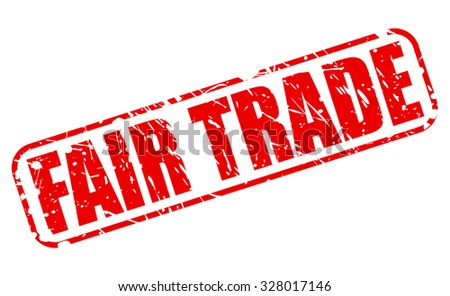FAIR TRADE red stamp text on white - stock vector