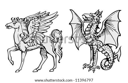 Fairy animals vector - stock vector