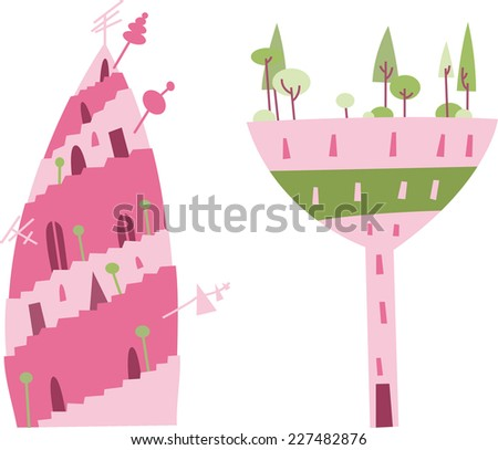 fairy castles and buildings collection. - stock vector