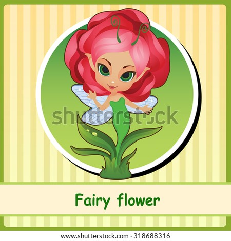 Fairy flower - hand-drawn illustration. You can use it as icon or a card with space for text - stock vector
