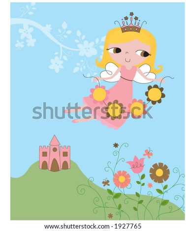 fairy flying above castle holding flowers.