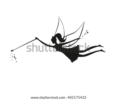 Fairy flying. Fairy black silhouette with a magic wand. Vector illustration of Fairy with a magic wand isolated on white background. Stencil fairy. Black Pretty fairy with a magic. wand - stock vector