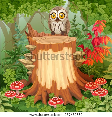 Fairy forest glade with cute owl sitting on stump surrounded by toadstools - a place for your text - stock vector