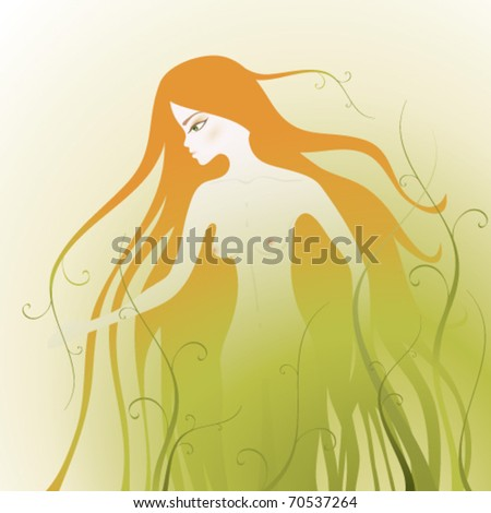 Fairy girl in green nature / Flora - stock vector