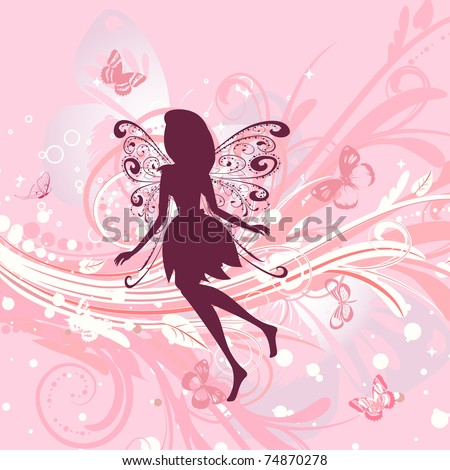 Fairy girl on a romantic floral background - stock vector