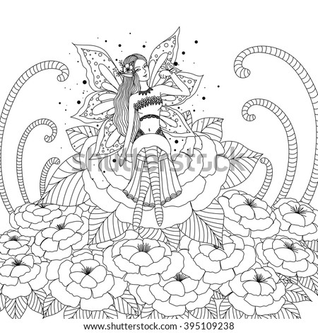 Fairy Girl Playing Butterfly Flowers Land Stock Photo (Photo, Vector ...