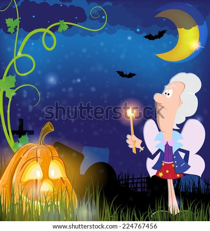 Fairy godmother with magic wand  and jack o lantern in the cemetery. Halloween night scene - stock vector