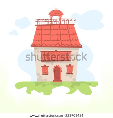 Fairy house with a tiled roof and a cockerel. Vector illustration - stock vector
