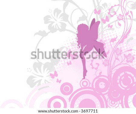 Fairy illustration, pink, vector showing fairy or an angel - stock vector