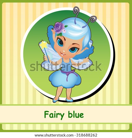 Fairy in blue dress - hand-drawn illustration. You can use it as icon or a card with space for text - stock vector