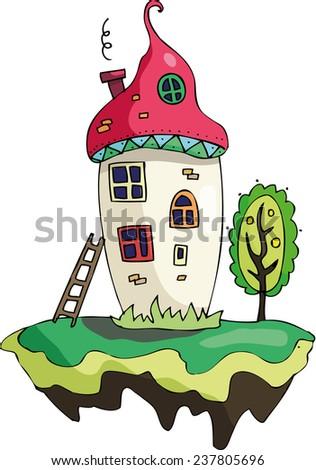 fairy little magic play house mushrooms  - stock vector