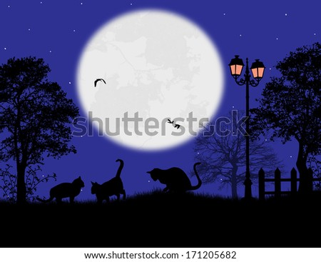 Fairy night background with cats on the garden, vector illustration