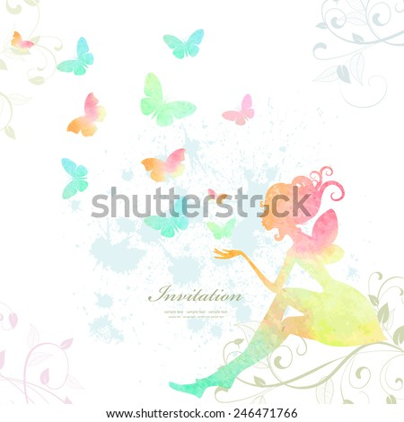 Fairy of watercolor paint - stock vector