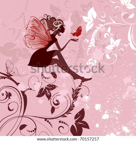 fairy pattern grunge - stock vector