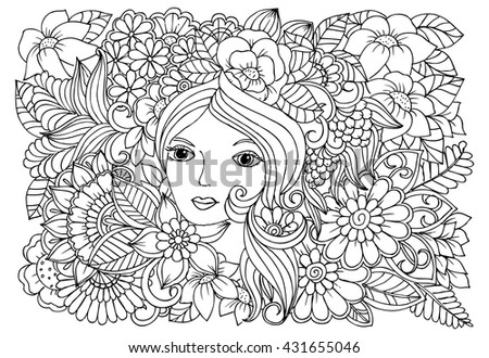 Fairy's face and doodle floral carpet. Vector monochrome drawing. Flowers in black and white for coloring book