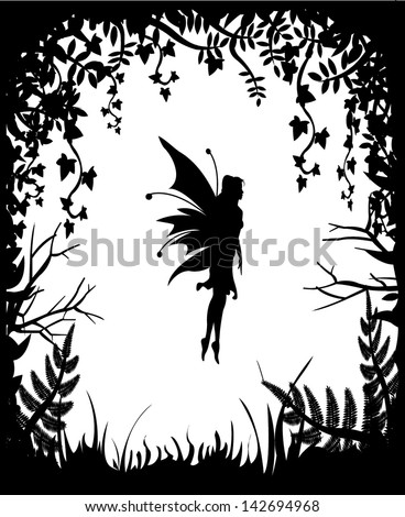 Fairy Silhouette On Background Nature Stock Vector ...