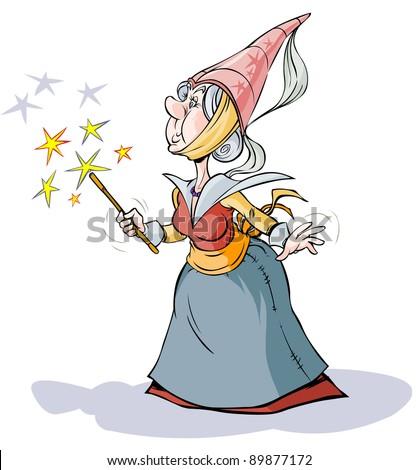 Fairy  Sorceress. Cartoon character. - stock vector
