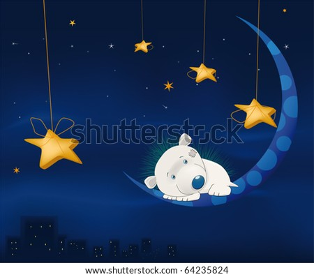 Fairy tale about a small hedgehog, night, the moon and a city