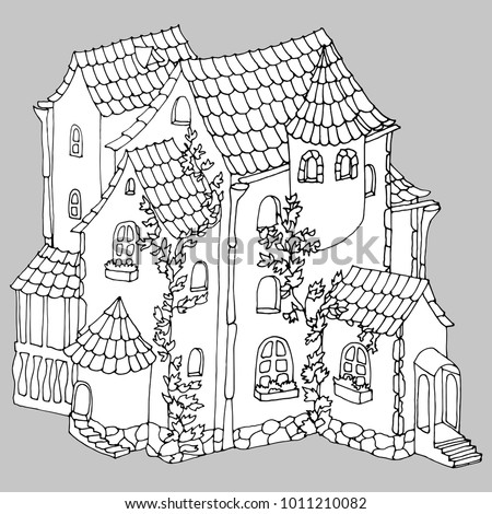 Fairiy cottage coloring pages for adults fairiy best for Fairy house coloring pages