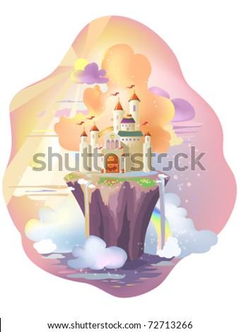 Fairy tale castle, on magic island. - stock vector