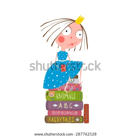 Fairy Tale Clever Princess Sitting On Stock Vector 287762528 ...