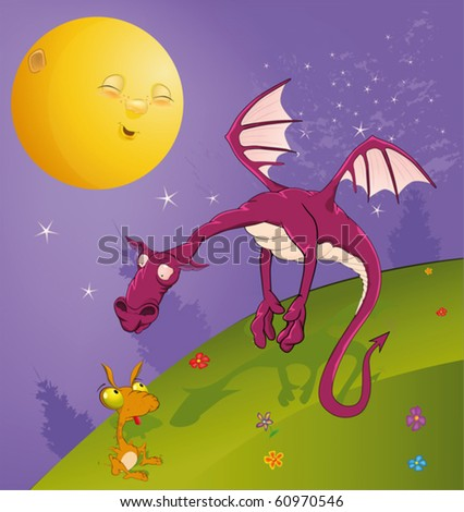 Fairy tale on dragons - stock vector