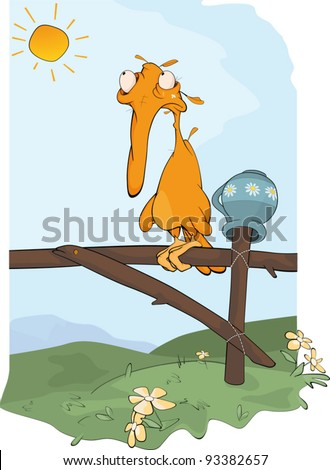 Fairy tale on the disgusting duckling. Cartoon - stock vector