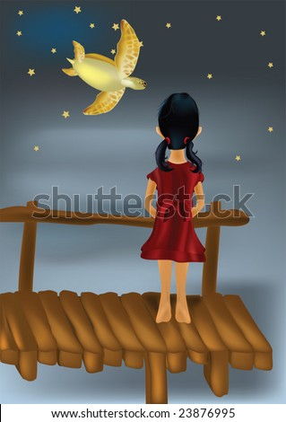 fairy tale on the girl on the bridge and a flying turtle