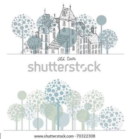 fairy tale town - stock vector