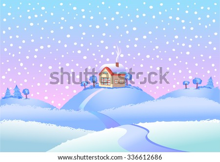 Fairy tale winter landscape vector illustration.  - stock vector
