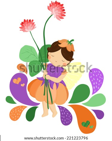 Fairy with Flower - stock vector