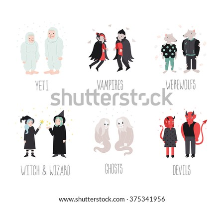 Fairytaile and fantastic cartoon creatures and monsters vector set. Cute naive style. - stock vector