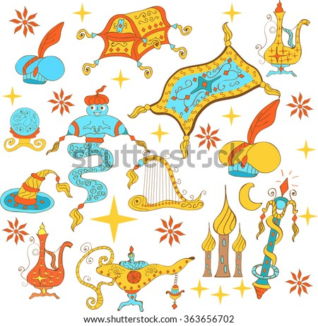 Fairytale Aladdin story theme elements. Jinn or genie, gold magic  lamp like, flying carpet, treasure chest, harp, wizard hat,  turban with gem, globe.Sketchy hand drawn doodle set.