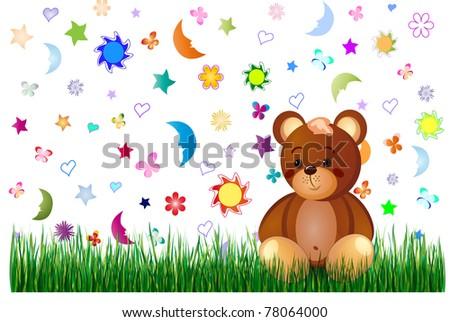 Fairytale background with a teddy bear for children - stock vector