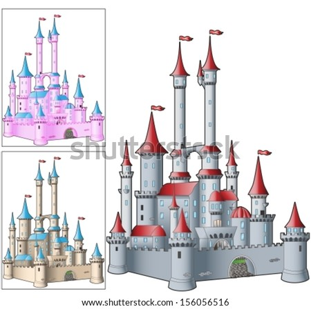 fairytale castle in three variants of color. Vector illustration - stock vector