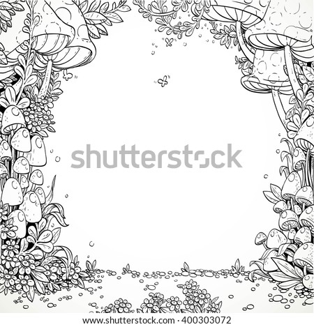 Fairytale decorative mushrooms and flowers in the magic forest. Black and white. Coloring book - stock vector
