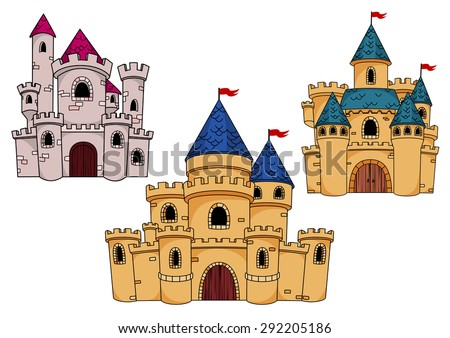 Fairytale fortified castles with watchtowers, turrets, roofs and red flags for childish interior or book design. Cartoon style - stock vector