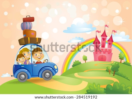 FairyTale landscape, the road leading to the castle and a family in the car on it. Vector illustration - stock vector