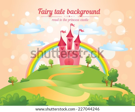 FairyTale landscape, the road leading to the castle. Vector illustration - stock vector