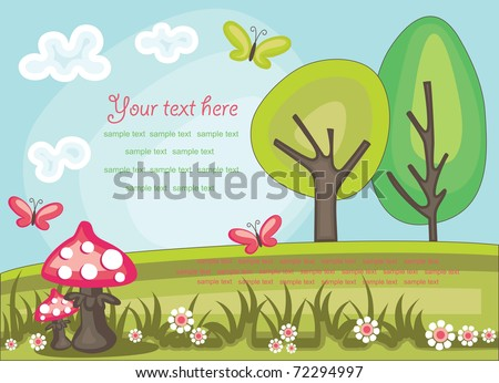 fairytale landscape. vector illustration - stock vector