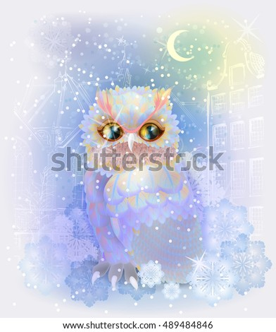 Fairytale owl in the snowy city. Christmas  and New Year illustration.  Winter in the city. Watercolor style.