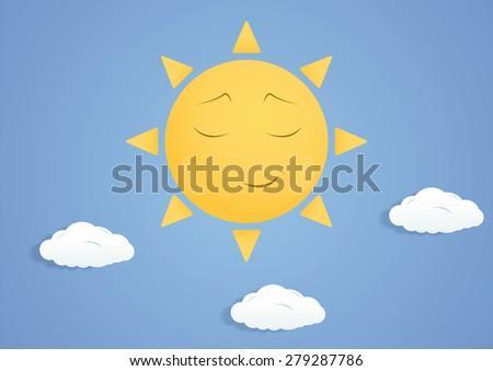 Fairytale smiling sun - stock vector