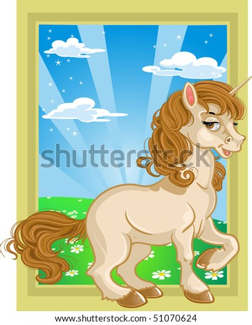 Fairytale unicorn on color landscape - stock vector