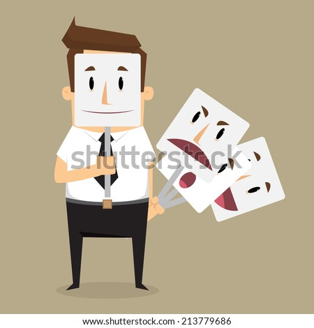 Fake businessman wearing mask smile rage cavaliers. Business concept. vector - stock vector