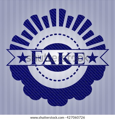 Fake emblem with jean texture - stock vector