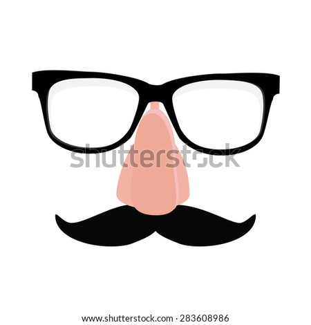 Fake nose and glasses humor mask vector illustration. Disguise glasses, nose and mustache. Funny glasses - stock vector