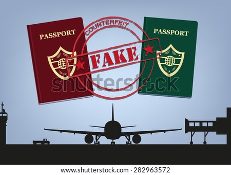 Fake Passports and Airplane in Airport Tarmac Silhouette. Editable Clip Art image. - stock vector